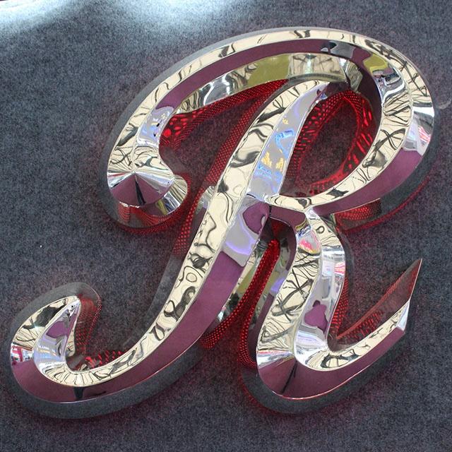 Sinais de metal de metal sinal de sinal carta de aço inoxidável logotipo da marca para venda