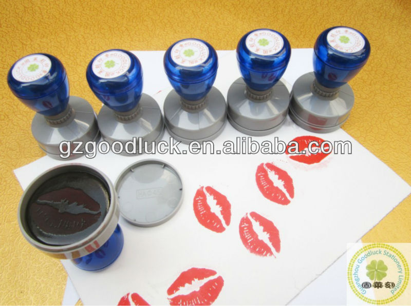 China Custom fancy kiss self inking stamp/Custom auto lovely kiss self inking rubber stamp