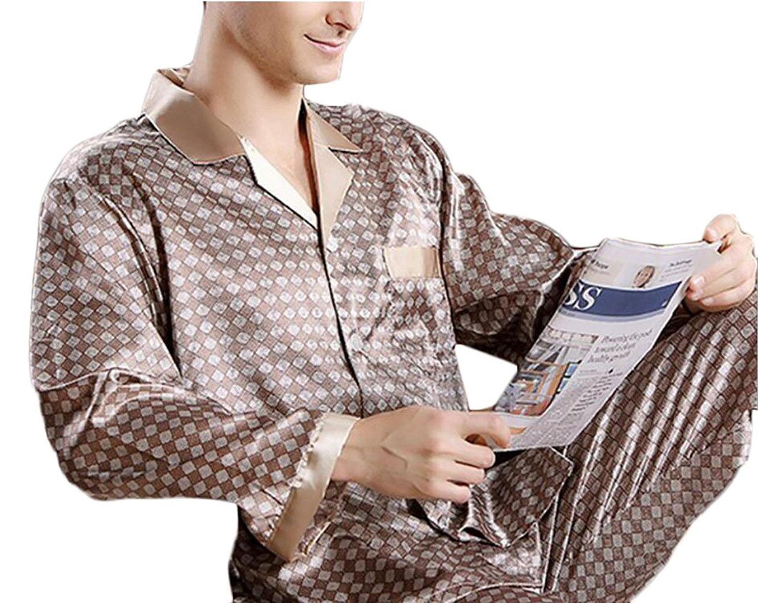 Get Quotations · Yayu Men s Warm Silk Pajamas Fall Long Sleeves Two Sets of  Home Service Nightdress df0d1f924