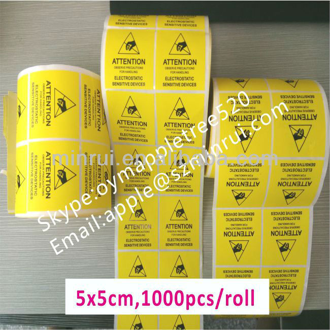 Standard Size 2''x2'' inches ESD Caution Labels,Anti-Static Labels,1000pcs Per Roll