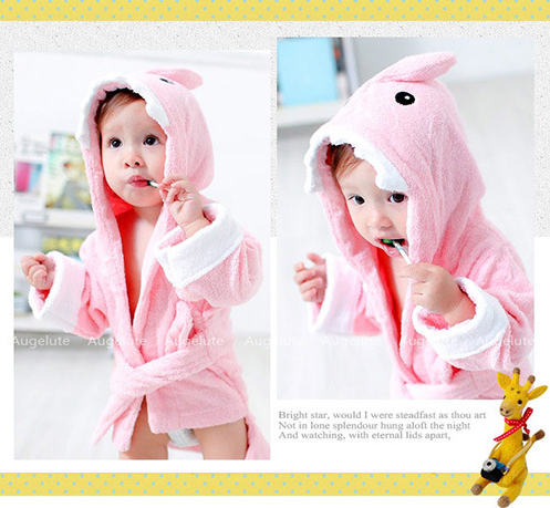 My Little Night Owl Hooded Terry Spa Robe, Pink