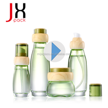 Supplier Cosmetics Cream Glass Bottles And Jars With Wooden Line Cap