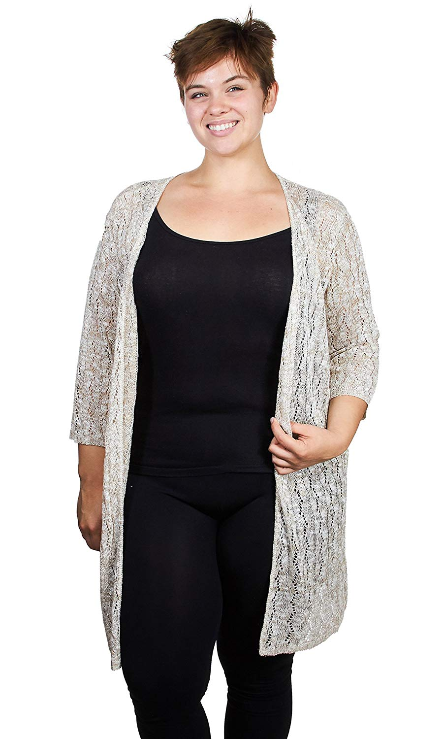 3cb11d4a7fc Get Quotations · Knit Minded Womens Ladies Marled Pointelle Open Front Long Cardigan  Sweater (See More Colors and