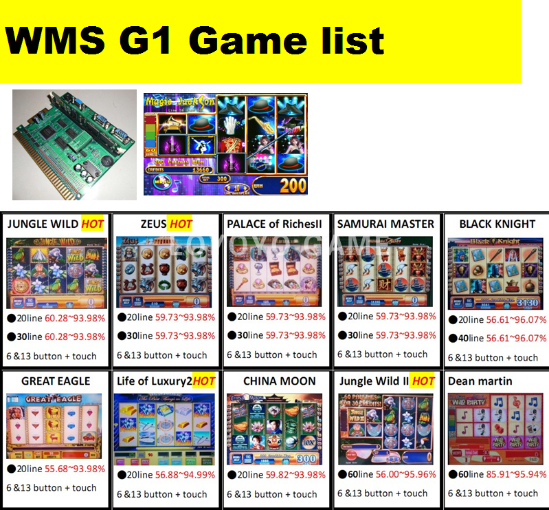 jammer Slot Game Board gammator WMS 550 casino maquina precio Life Of Luxury 15 line pcb game board rate 56.88-94.99%