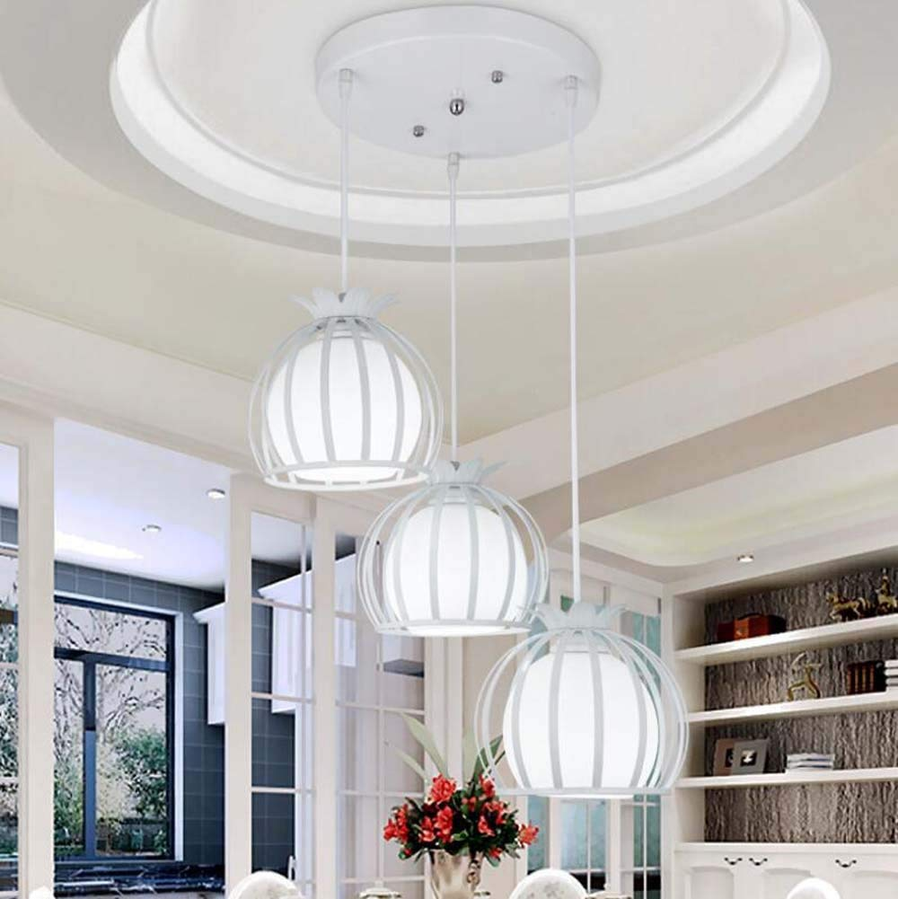 Iron Hollow Pendant Lamp Round Petal Wind Bell Chandelier 3 Head Restaurant/clothing Store Hanging Lamp Deco Lights(without Bulb) (Color : White, Size : Round)