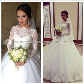 Free Shipping Vestido De Noiva High Neck Ball Gowns Muslim Bridal ...