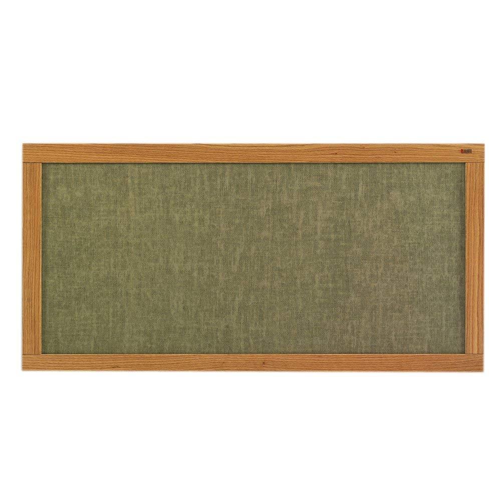Marsh 48x48 Turquoise Vinyl Message Display Bulletin Board, Oak Wood Trim