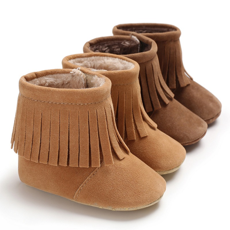 0e9866c1e Fringe Baby Boots With Fur Inside Infant Toddler Moccasins For Girls ...