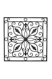 """Lucina Tuscan 24"""" Square Indoor Outdoor Wrought Iron Wall Grille Plaque"""