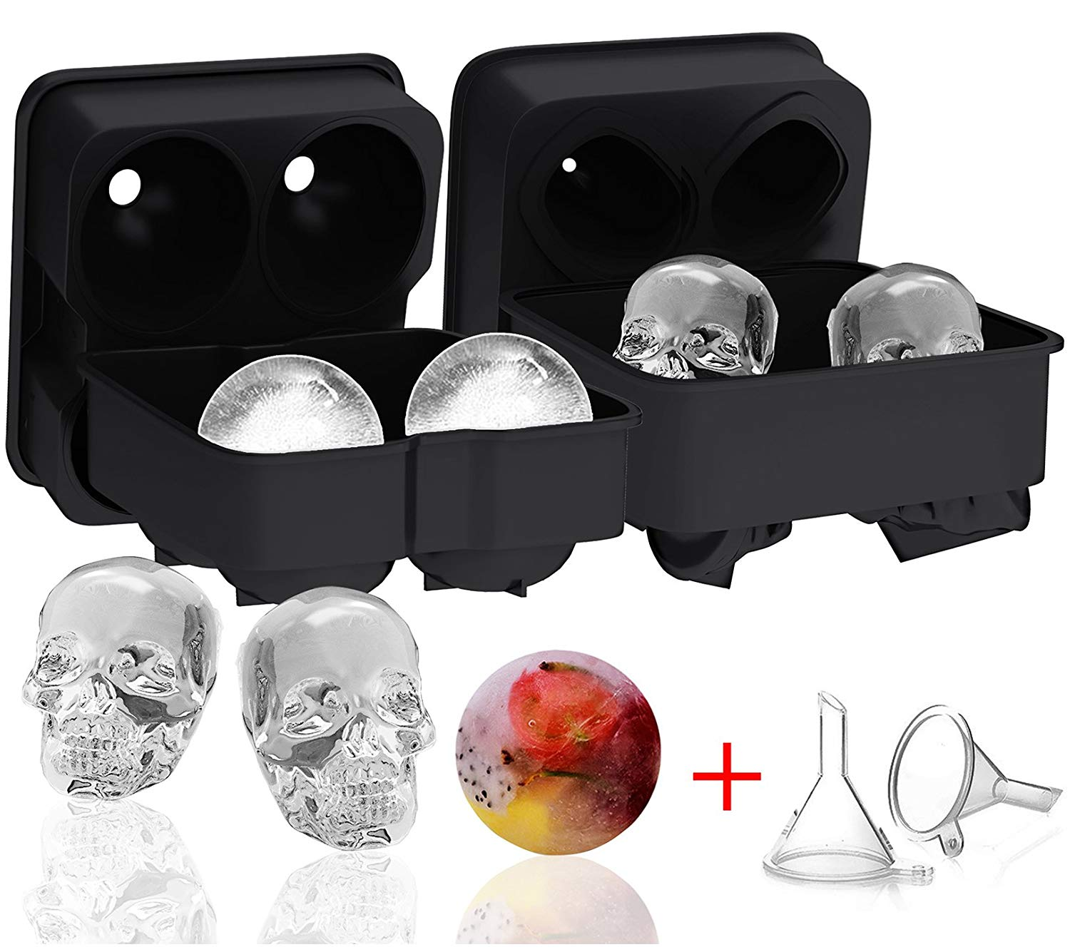 Ozera 2 Pack 3D Skull Ice Cube Mold & Silicone Ice Ball Maker, Novelty Skull Ice Trays, Round Ice Cube Maker with 2 Plastic Funnel for Whiskey Wine, Cocktails and Beverages and More