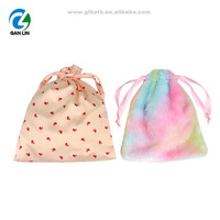 Custom Polyester Nylon Flannel Canvas Material Makeup Cosmetic Drawstring Bag Travel Pouch Bag