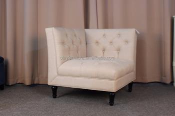 French Country Style Corner Fabric Sofa Ancient Linen Corner Chair Classic  Corner Single Sofa