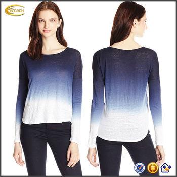 OEM wholesale Women s 100% Linen Long-Sleeve Dip-Dye tie dye shirts top df05372cac