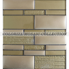Gold square glass mosaic tile for wall decoration ( GR046)