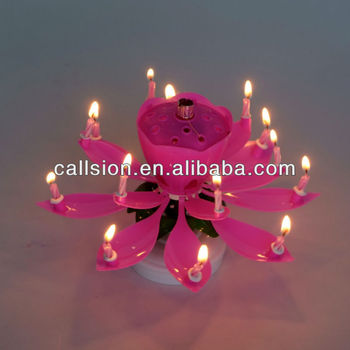 Melody Blooming Flower Firework Rotating Birthday Candle