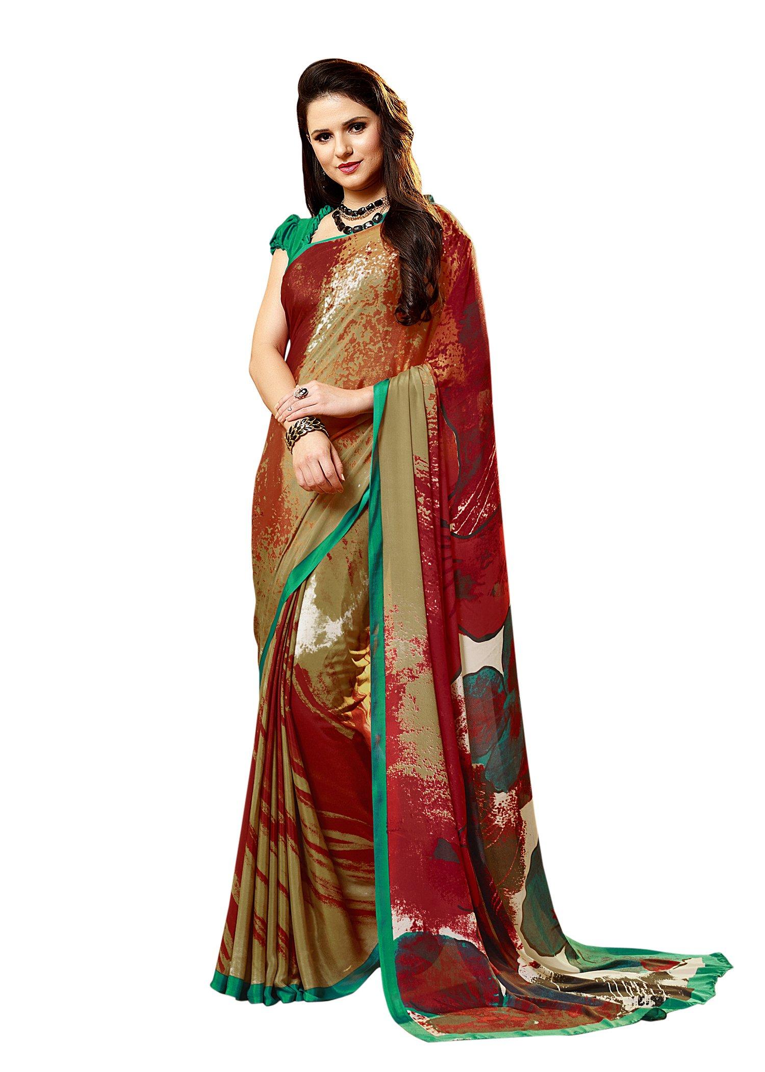 33ab18b064fb88 Get Quotations · Jaanvi fashion Women s Crepe Printed Saree