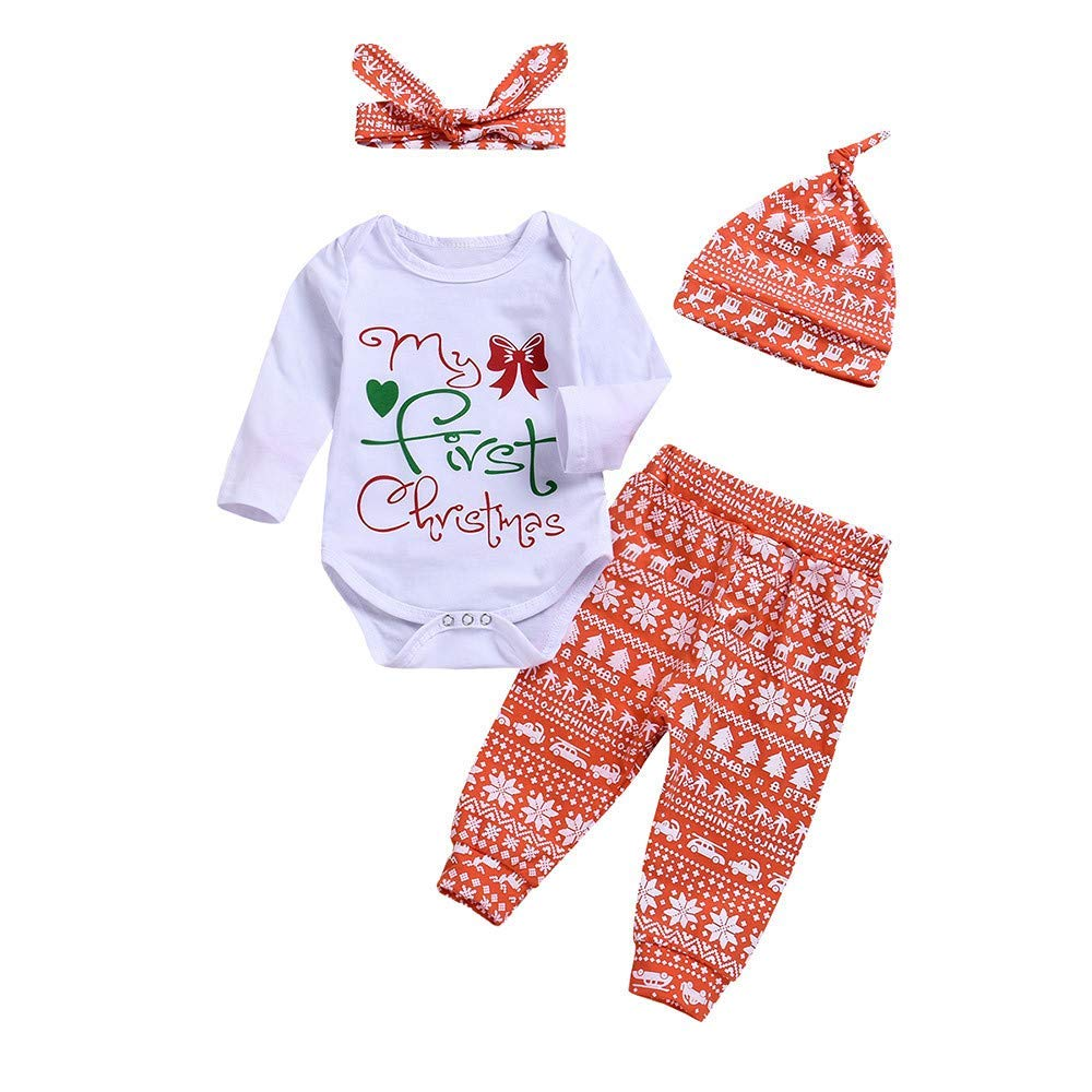 142b1bb6cf Get Quotations · 4PCS Christmas Clothes Toddler Baby Boys Girls Letter Print  Long Sleeves Romper+Pants+Hat