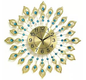Decoration metal clock personalized peacock wall clock Continental luxury living room personalized wall hanging clock