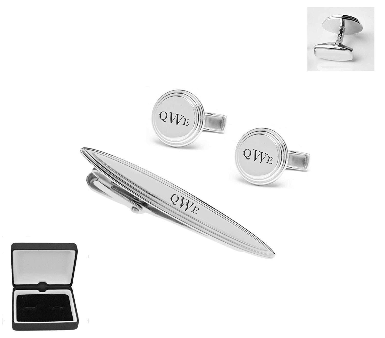 Personalized Silver Beveled Cufflinks & Tie Clip Set Monogram Custom Engraved Free