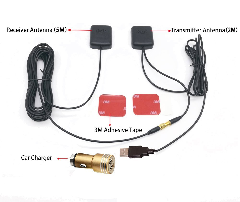 Water resistant GPS Antenna Receiver Repeater Navigator Amplifier 5M/16FT Car Signal Repeater Amplifier GPS Receive And Transmit for Phone Car Navigation System with car charge