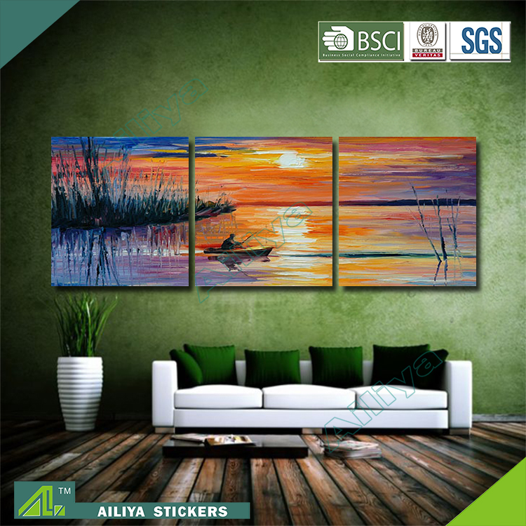 Home decor hotel wall art diy modern three panel for Hotel wall decor