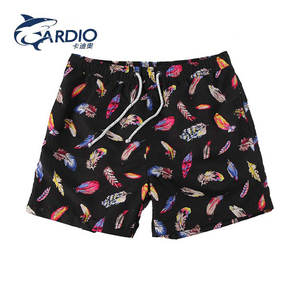 Customized fashion feather print breathable cotton boxer shorts mens underwear men's briefs & boxers