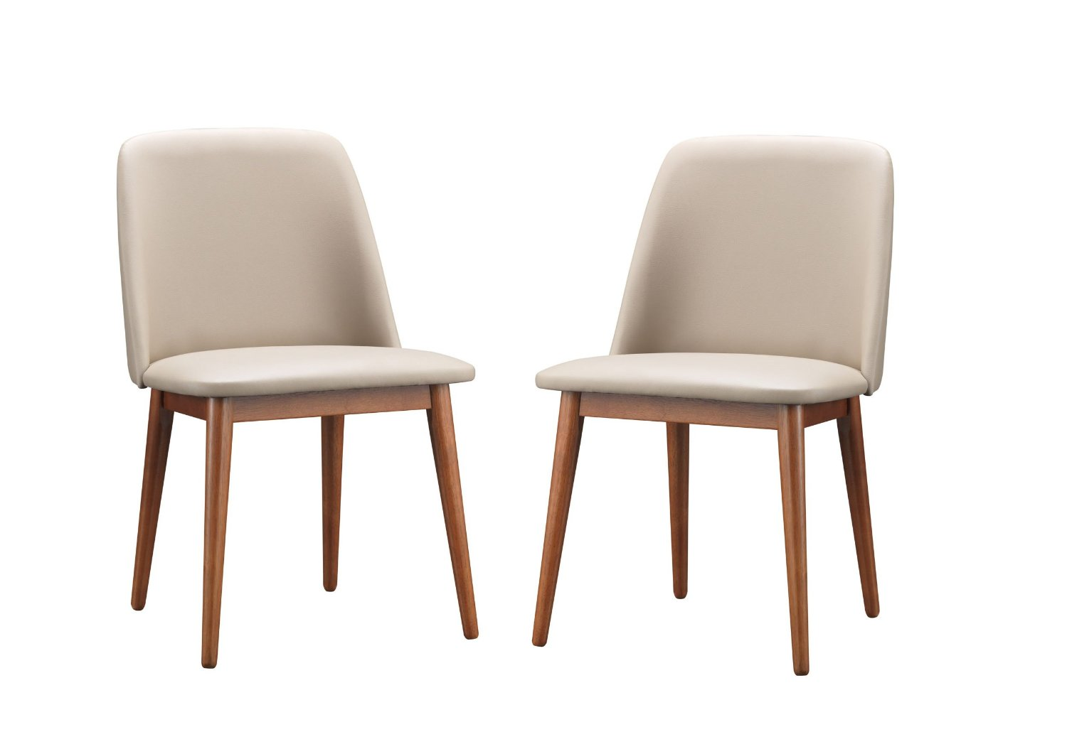 Baxton Studio Set of 2 Lavin Mid-Century Dark Walnut Wood and Beige Faux Leather Dining Chairs