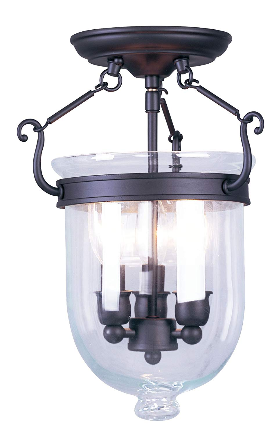 Livex Lighting 5061-07 Jefferson 3 Light Bronze Bell Jar Semi Flush with Clear Glass