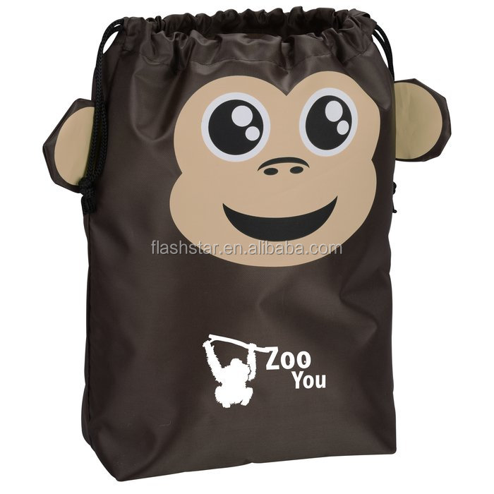 Paws and Claws Drawstring Gift Bag - Monkey