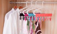 Portable Folding clothespin Plastic Clothing Coat Hanger Travel Foldable Hanger