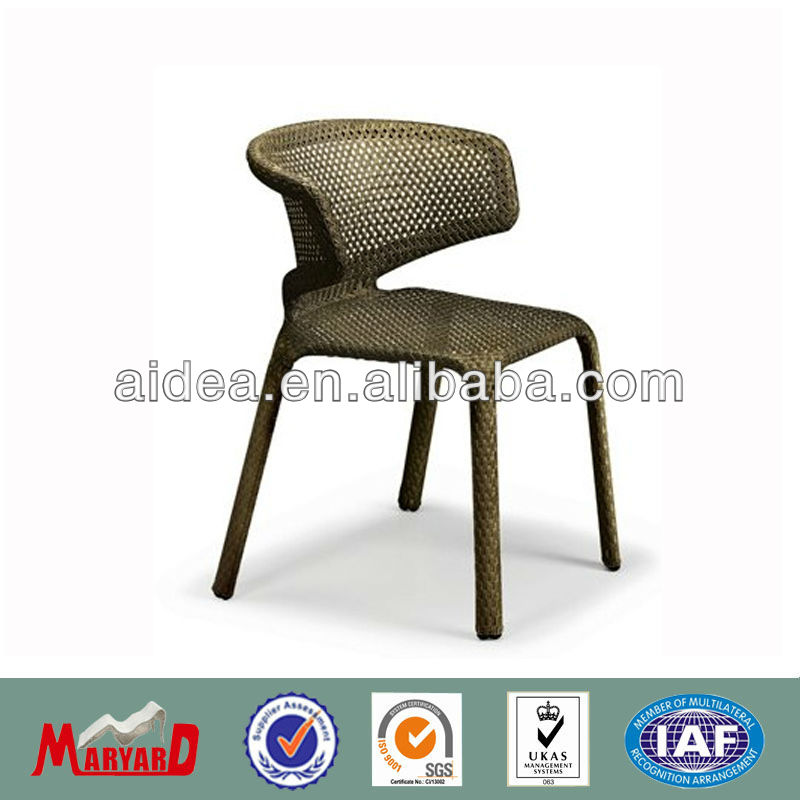 pe rattan side chair aluminum frame dining chair