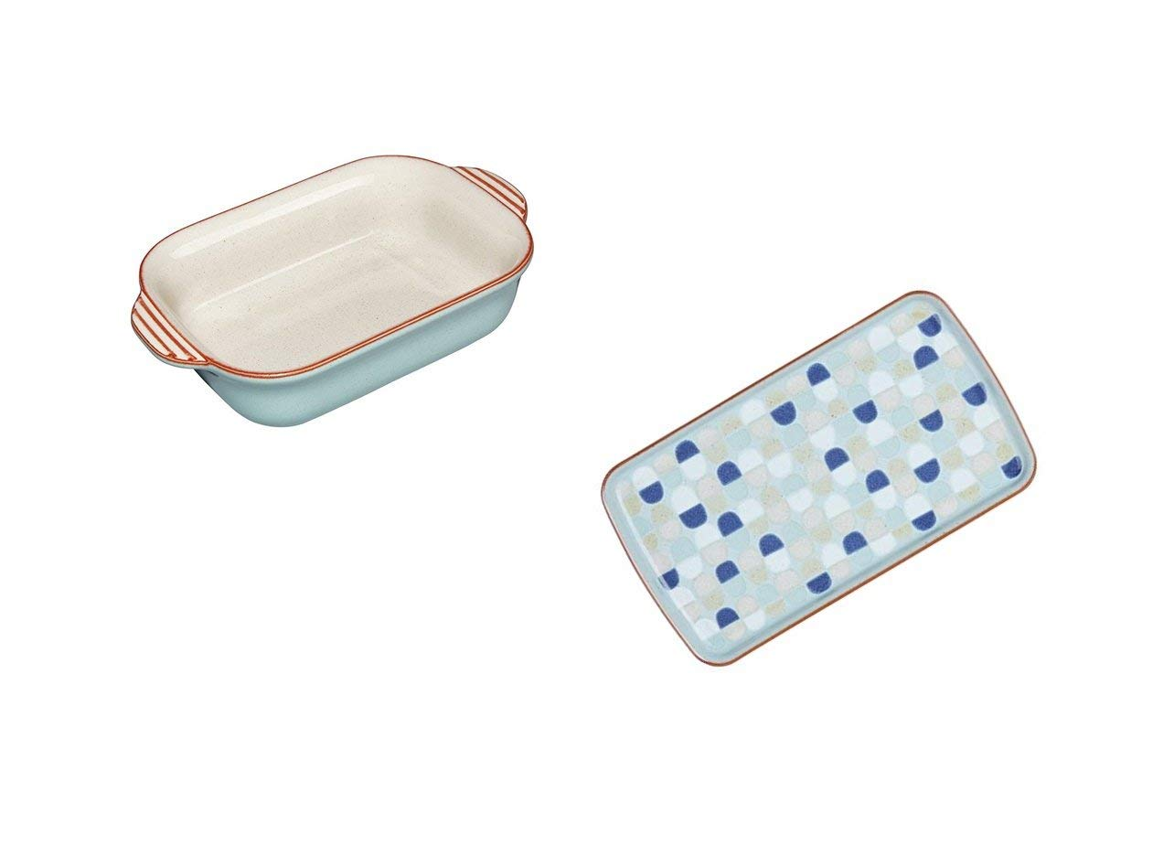 Denby Heritage Pavilion Small Rectangular Oven Dish and Accent Rectangular Plate, Set of 2