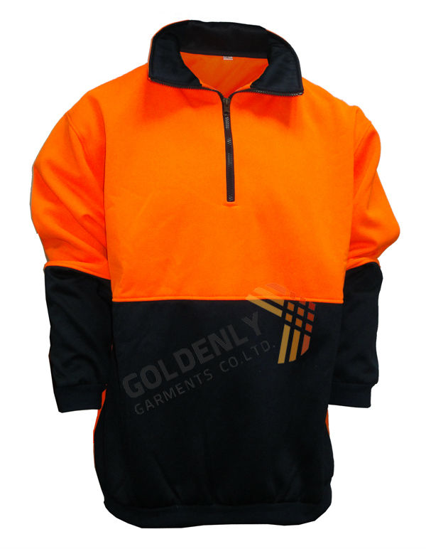 men's fleece sweater safety wear,high visibility safety sweater