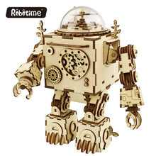 Robotime Hot Sale Hadiah Orpheus DIY Wooden Music Box