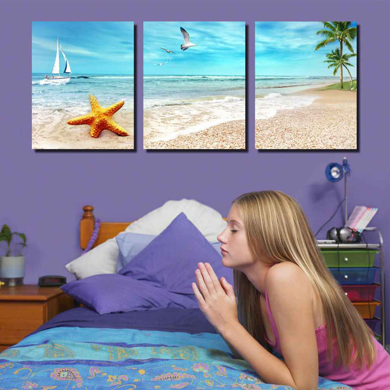 Unframed 3 Panel Starfish And Seagull Beach Seascape Modern Print Canvas Painting Home Wall Decor For Room Decoration Artwork