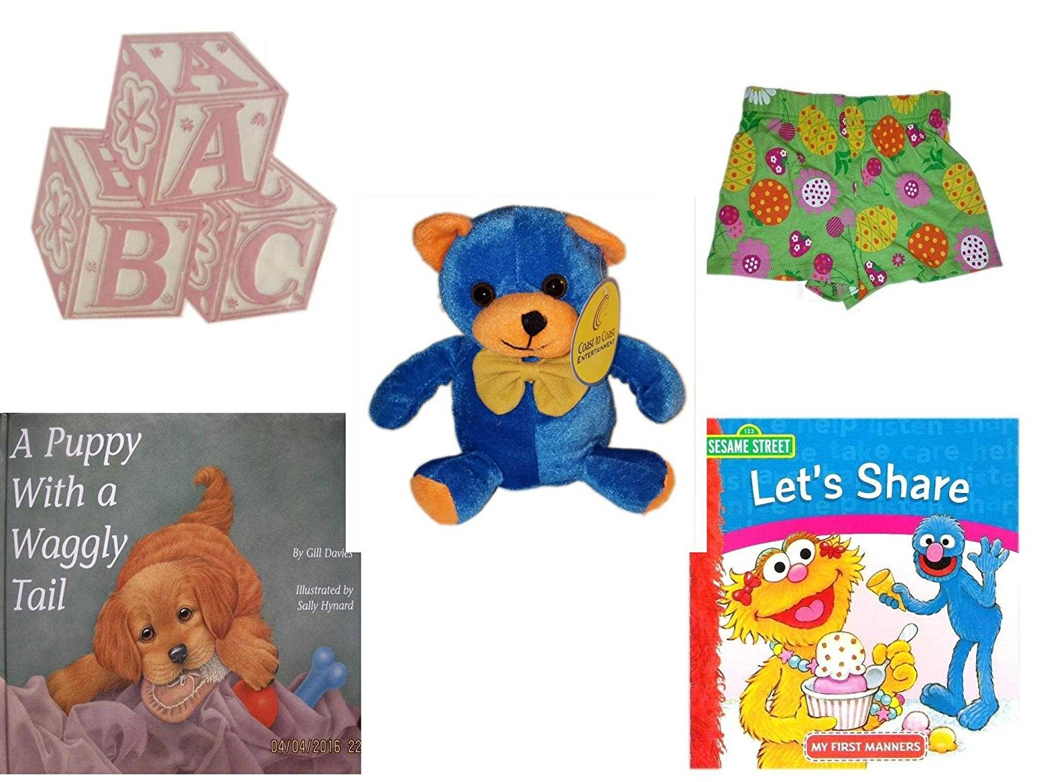 """Children's Gift Bundle - Ages 0-2 [5 Piece] - ABC Baby Blocks Cake Topper Pink Girl - WonderKids Toddler Girls Fruit & Flowers Cotton Shorts Size 2T - Blue & Orange Bear 7"""" - A Puppy with a Waggly T"""