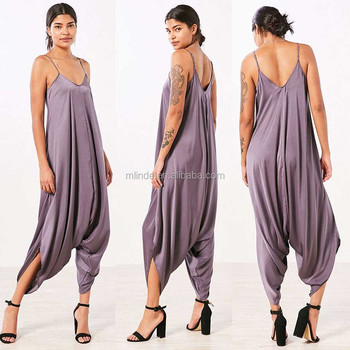 635f5aa6e7d One Piece Jumpsuit Oversized Satin Solid Women Harem Overall Summer Sexy Jumpsuit  Romper