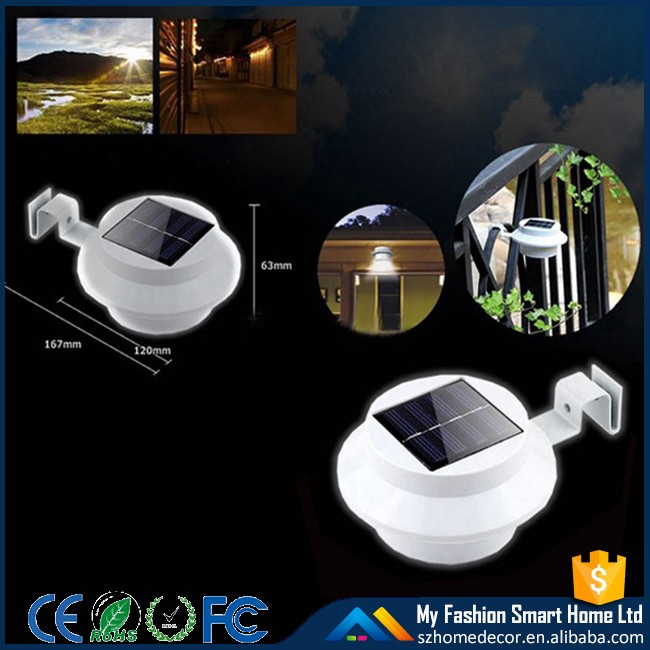 HH24G Solar Power Fence Gutter Wall Post Outdoor Garden Light 3 LED ABS Pure White Warm White Cheap Price Solar Lamp