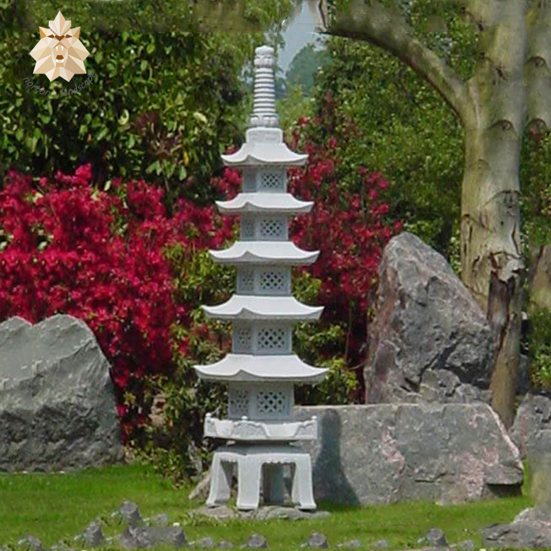 Hot Sale Five Storied China Grey Marble Carving Lantern Stone