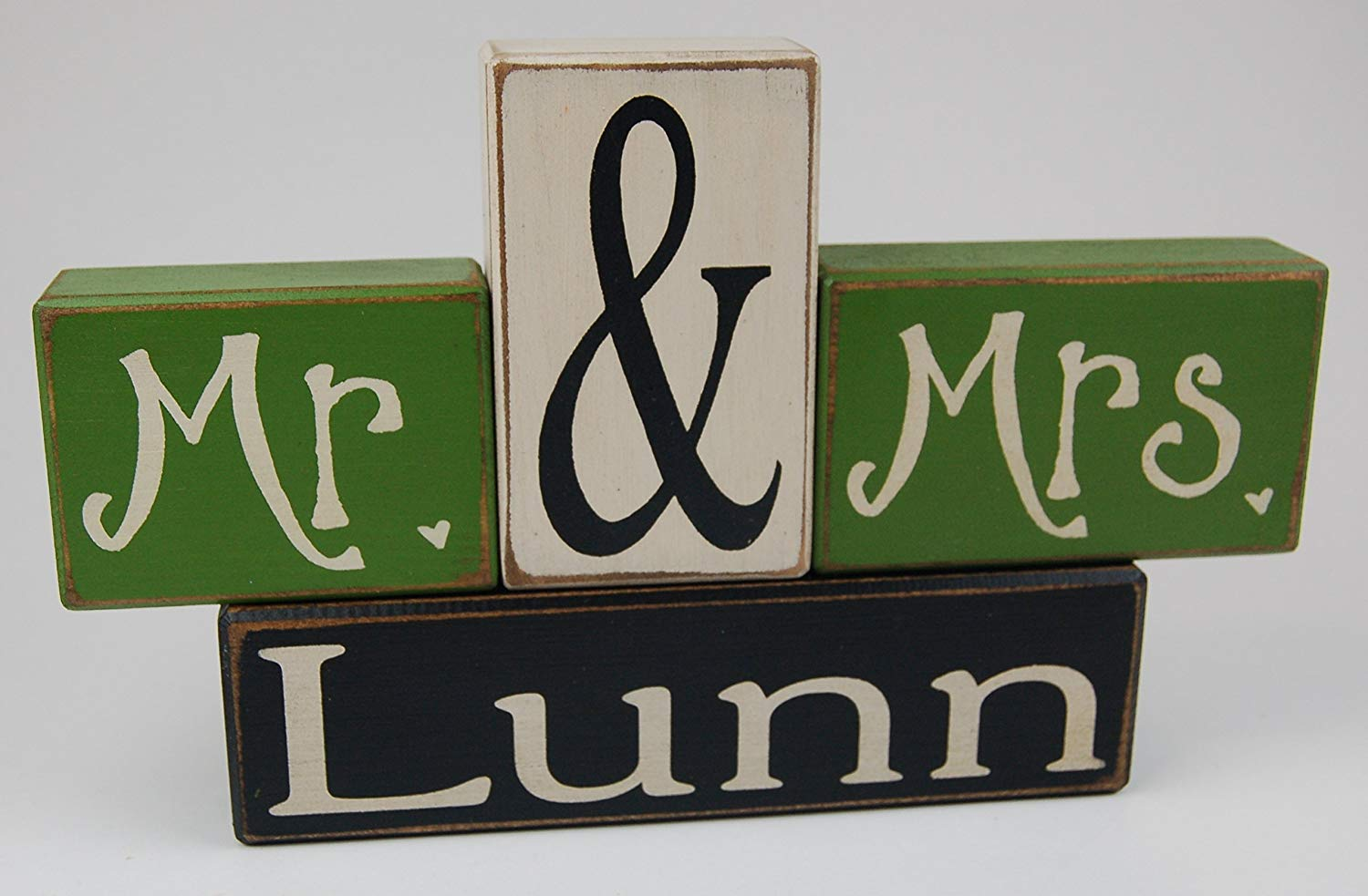 Mr. & Mrs. Letter Blocks Personalized Family Name Primitive Country Distressed Wood Stacking Sign Blocks Wedding Centerpiece Table Decor