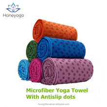 Microfiber non-slip PVC dots private label sports yoga towel