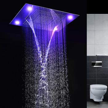 luxury rain waterfall rain curtain 60 80cm ceiling rain shower head recessed remote control led. Black Bedroom Furniture Sets. Home Design Ideas