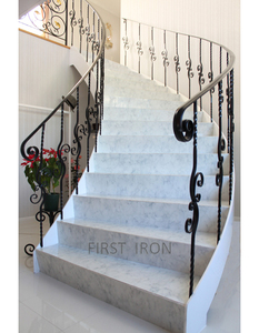 Modern Japanese style wrought iron curved stair railings, simple iron interior stair railings