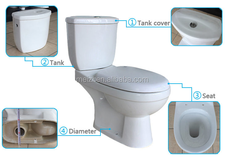 Green color two piece modern toilet bowl