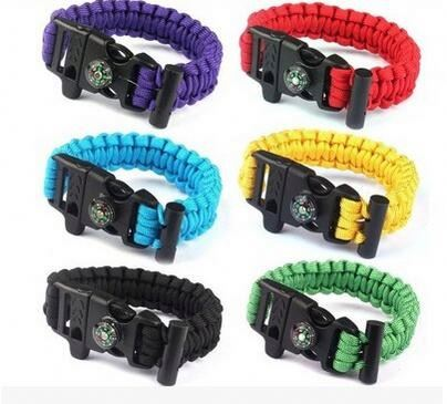 Camping Survival Bracelet Paracord Flint Fire Starter Compass Scraper Outdoor Gear