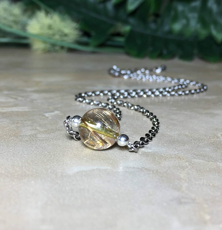 Copper Rutilated Quartz Necklace, 10mm Rutilated Quartz, Rutilated Quartz Choker, Stainless Steel Necklace, Healing, Rutilated Quartz