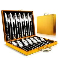 MOQ 1piece high mirror polish heavy duty stainless steel 24pcs cutlery sets