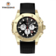 Multifunction subdial chronograph steel quartz watches mineral glass 200m waterproof diving watches