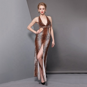 Women sexy long night gown bodycon dress strap halter backless club party leopard print night dress