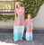 Summer Family Clothes Mother Daughter Burst short-sleeved large stripes stitching foreign trade women's dress pro-child